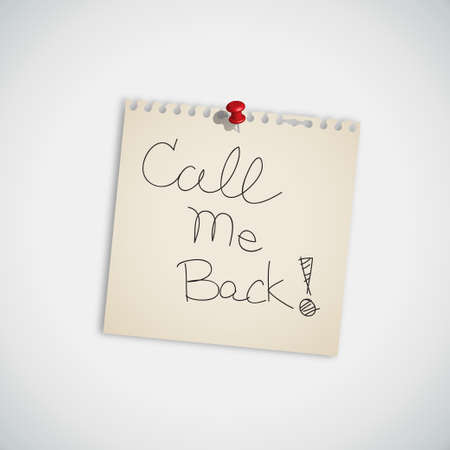 call me:   Call Me Back   handwritten on Note Paper