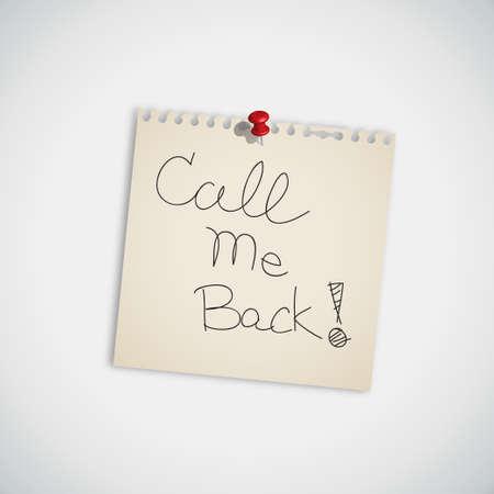 Call Me Back escrita a mano en papel de nota Vectores