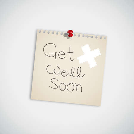 Handwriting Message  Get Well Soon  Message on Paper Note  Vector