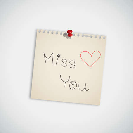 Miss You   handwritten on Note Paper Vector