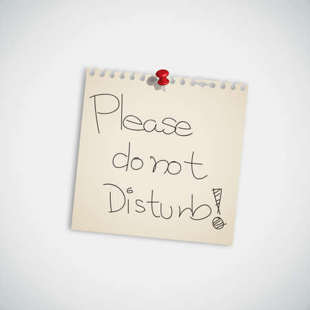 Handwriting Message   Please Do not Disturb   Message on Paper Note  Vector
