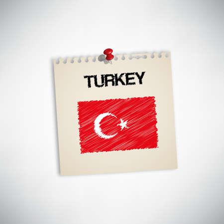 graphing: Pintura de la bandera de Turqu�a en papel Nota Vectores