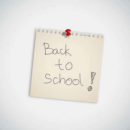 back to school   handwritten on Note Paper Vector Vector