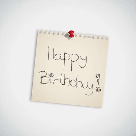 Happy Birthday Note Vector