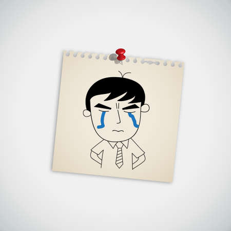 Man Crying on Note Paper Vector Vector