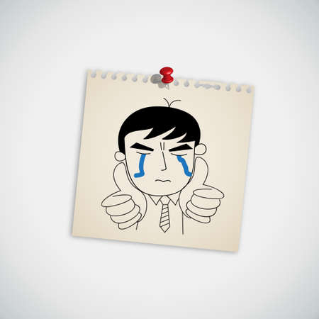 Man crying and show thumb up vector Vector