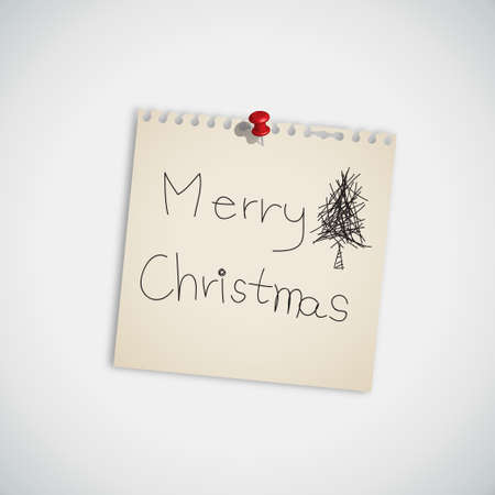 Merry Christmas Note Paper Vector Vector