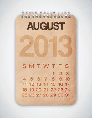 2013 Calendar August Grunge Texture Stock Vector - 15433114