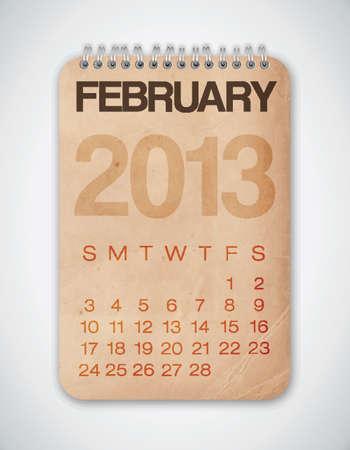 2013 Calendar February Grunge Texture Stock Vector - 15433115