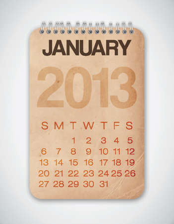2013 Calendar January Grunge Texture Stock Vector - 15433105