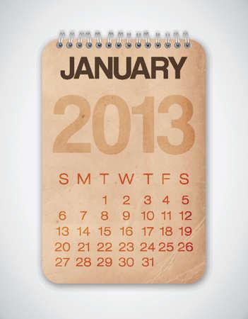 2013 Calendar January Grunge Texture Stock Vector - 15433105