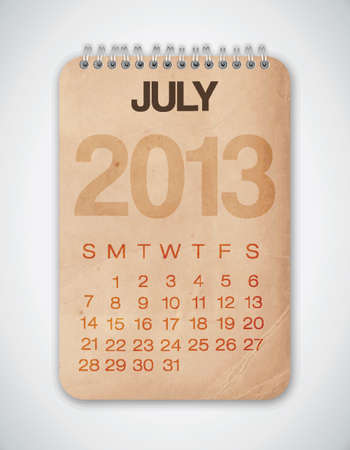 2013 Calendar July Grunge Texture Stock Vector - 15433109