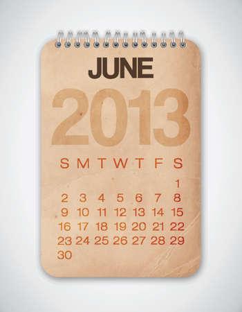 2013 Calendar June Grunge Texture Stock Vector - 15433112