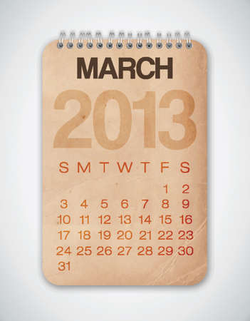 2013 Calendar March Grunge Texture Stock Vector - 15433108