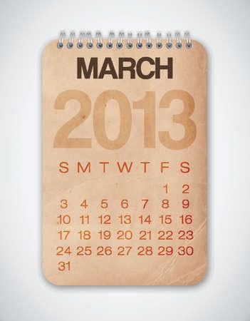 2013 Calendario marzo Grunge Texture