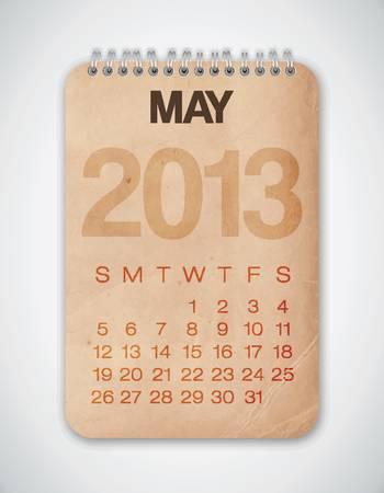 2013 Calendar May Grunge Texture Vector