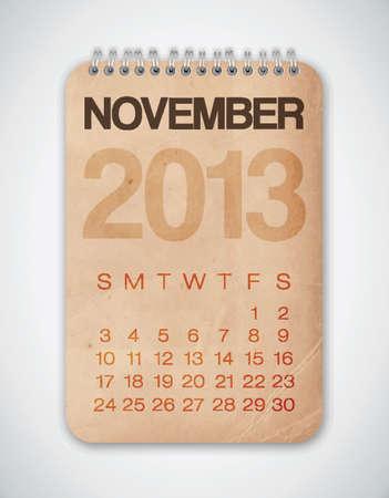2013 Calendario noviembre Grunge Texture Vectores