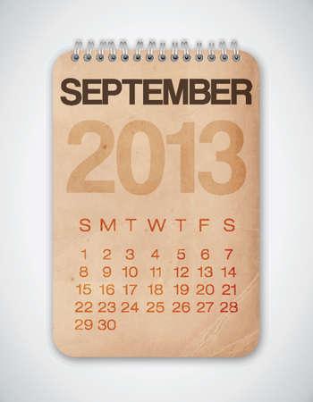 2013 Calendar September Grunge Texture Stock Vector - 15433113