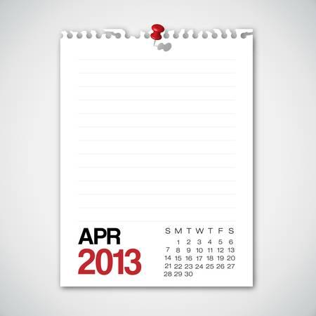 2013 Calendar April Old Torn Paper  Stock Vector - 15732300