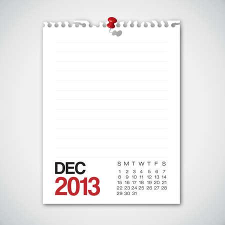 2013 Calendario diciembre Torn Documentos antiguos Vectores