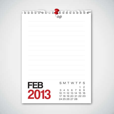 2013 Calendario Febrero Torn Paper Antiguo