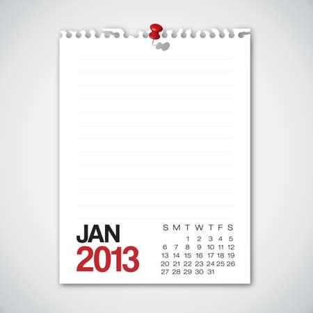 2013 Calendar January Old Torn Paper  Vector