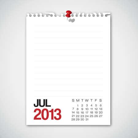 2013 Calendar July Old Torn Paper Illustration