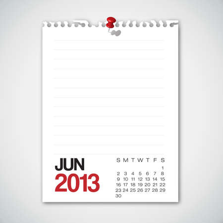 2013 Calendar June Old Torn Paper  Stock Vector - 15732340