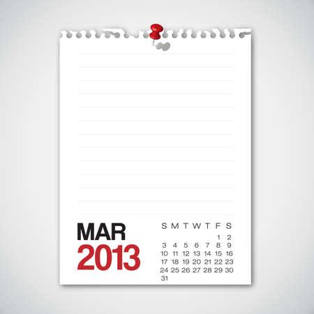 2013 Calendar March Old Torn Paper Vector