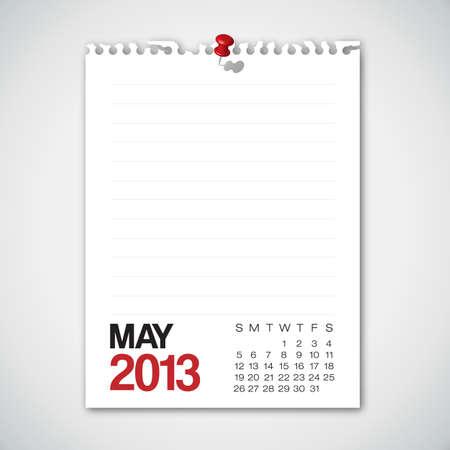 Calendario Mayo 2013 Torn Paper Antiguo