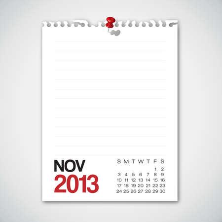 2013 Calendar November Old Torn Paper  Vector