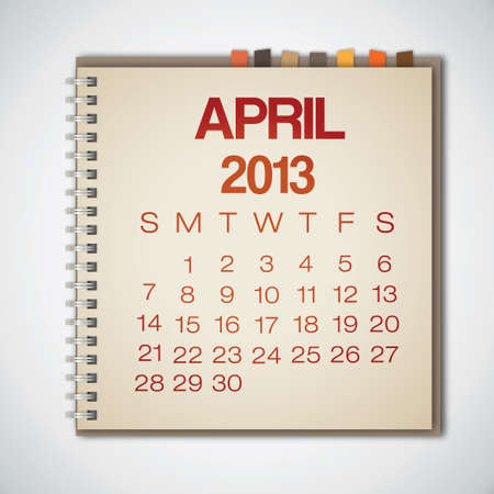 old notebook: 2013 Calendar April Old Notebook Vector Illustration