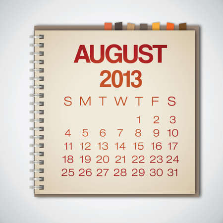 2013 Calendar August Notebook Vector Vector