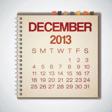 2013 Calendar December Notebook Vector Vector