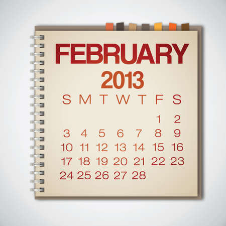 2013 Calendar February Notebook Vector Stock Vector - 16173376