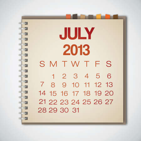 2013 Calendar July Notebook Vector Vector