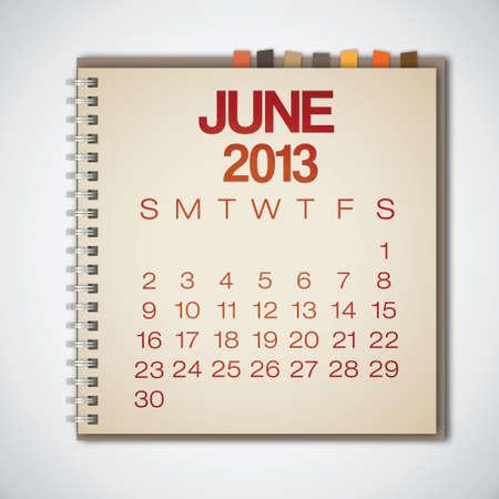2013 Calendar June Notebook Vector