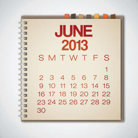2013 Calendar June Notebook Vector  Stock Vector - 16173378