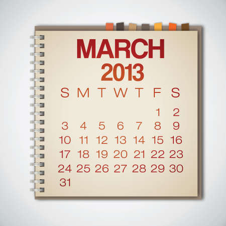 2013 Calendar March Notebook Vector Stock Vector - 16173389