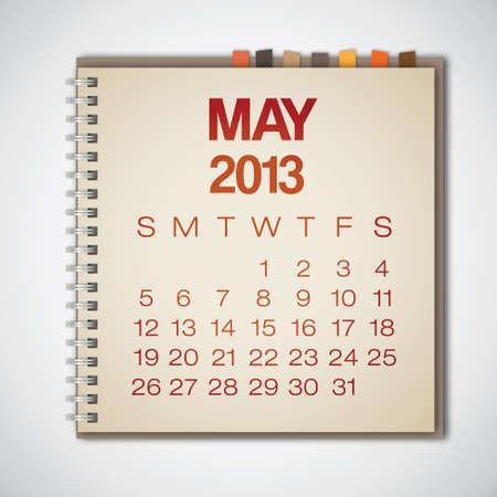 2013 Calendar May Notebook Vector Vector
