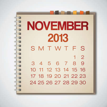 2013 Calendar November Notebook Vector Stock Vector - 16173394