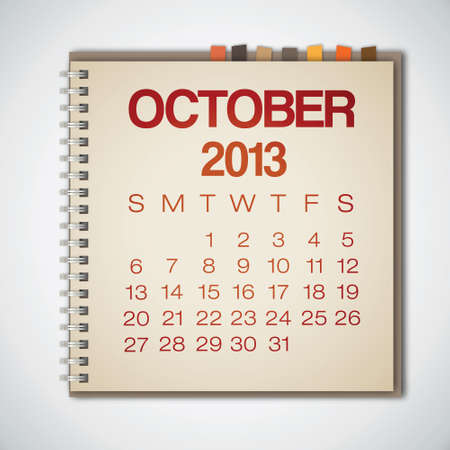 kalender oktober: 2013 Kalender oktober Notebook Vector