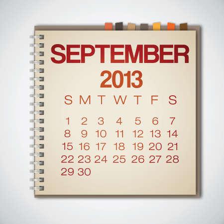 calendario septiembre: 2013 Calendario Septiembre Vector Notebook