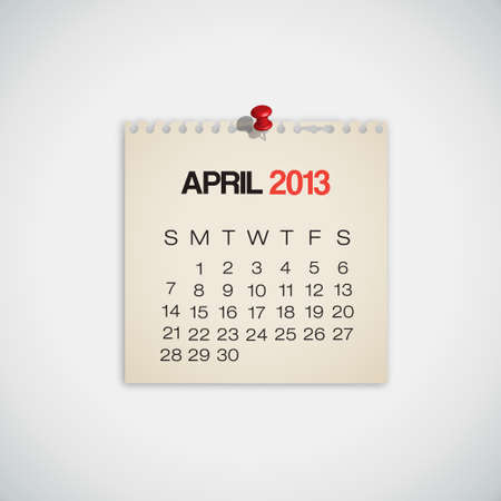old diary: 2013 Calendar April Old Torn Paper Vector  Illustration