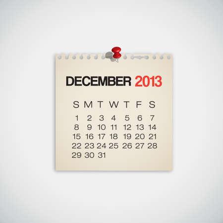 2013 Calendar December Old Torn Paper Vector