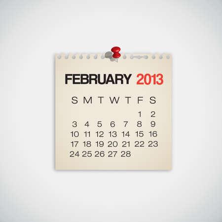 Calendario Febrero 2013 Old Vector papel rasgado
