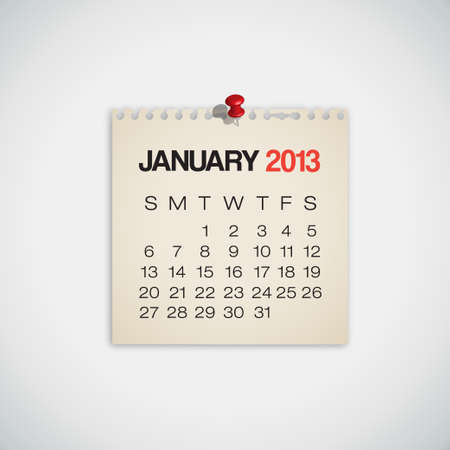 2013 Calendar January Old Torn Paper Vector Illustration
