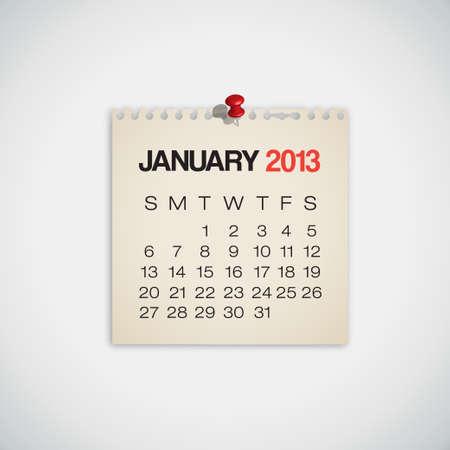 2013 Calendario enero Antiguo vector de papel rasgado