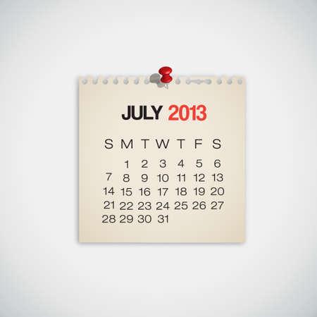 2013 Calendar July Old Torn Paper Vector Stock Vector - 16173415