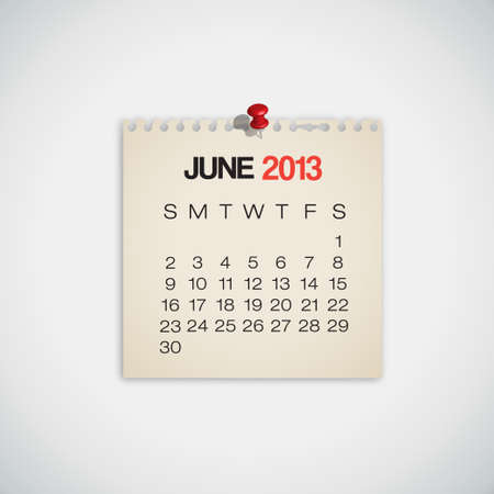 old diary: 2013 Calendar June Old Torn Paper Vector